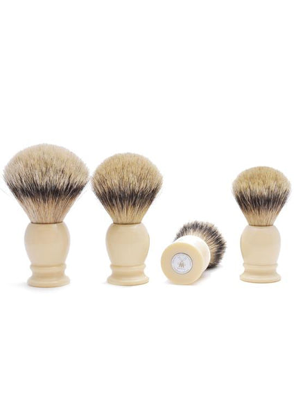 Muhle classic shaving brushes with silvertip badger bristles with ivory resin handles in sizes extra large, large, medium and small