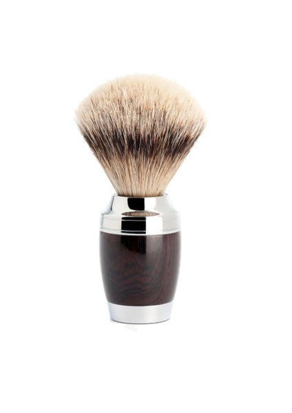 Muhle Stylo shaving brush with grenadilla wood handle and silvertip badger bristles