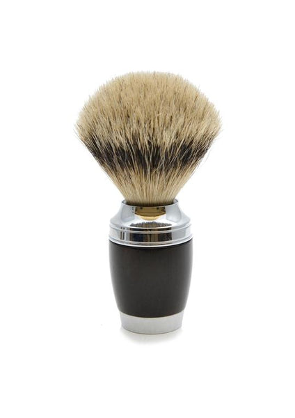 Muhle Stylo shaving brush with black resin handle and silvertip badger bristles