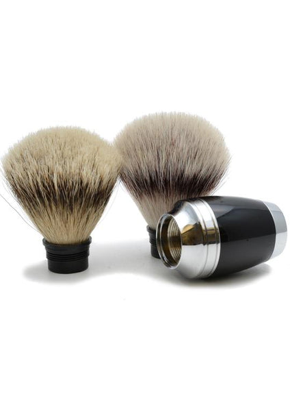 Muhle Stylo synthetic fibre and silvertip badger shaving brush heads with black resin handle
