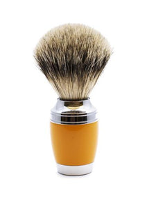 Muhle Stylo shaving brush with butterscotch resin handle and silvertip badger bristles