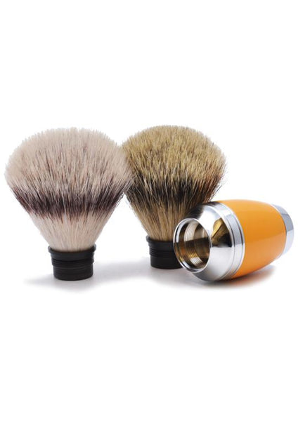 Muhle Stylo synthetic fibre and silvertip badger shaving brush heads with butterscotch resin handle