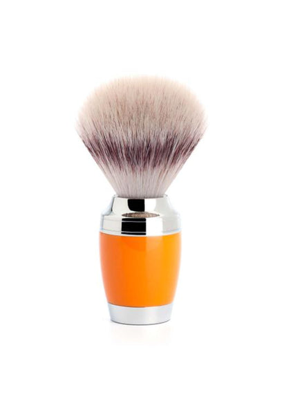 Muhle Stylo shaving brush with butterscotch resin handle and synthetic fibre bristles