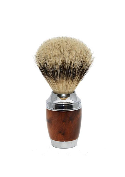 Muhle Stylo shaving brush with thuja wood handle and silvertip badger bristles