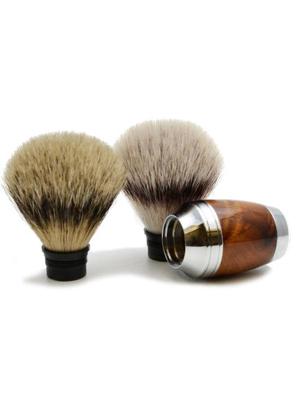 Muhle Stylo synthetic fibre and silvertip badger shaving brush heads with thuja wood handle