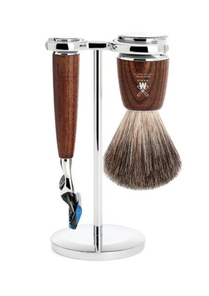 Muhle Rytmo Fusion 5 shaving set including stand with pure badger shaving brush and Fusion 5 razor with ash wood handles