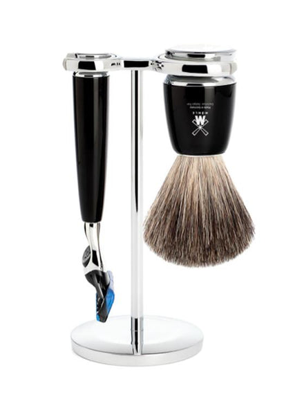 Muhle Rytmo Fusion 5 shaving set including stand with pure badger shaving brush and Fusion 5 razor with black resin handles