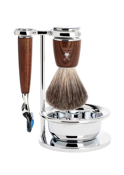 Muhle Rytmo Fusion 5 shaving set including stand and bowl with pure badger shaving brush and Fusion 5 razor with ash wood handles