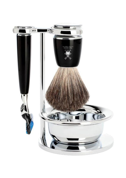 Muhle Rytmo Fusion 5 shaving set including stand and bowl with pure badger shaving brush and Fusion 5 razor with black resin handles