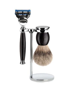 Muhle Sophist Fusion 5 shaving set including stand with silvertip badger shaving brush and Fusion 5 razor with grenadilla wood handles