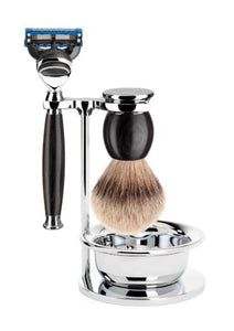 Muhle Sophist Fusion 5 shaving set with bowl including stand with silvertip badger shaving brush and Fusion 5 razor with grenadilla wood handles