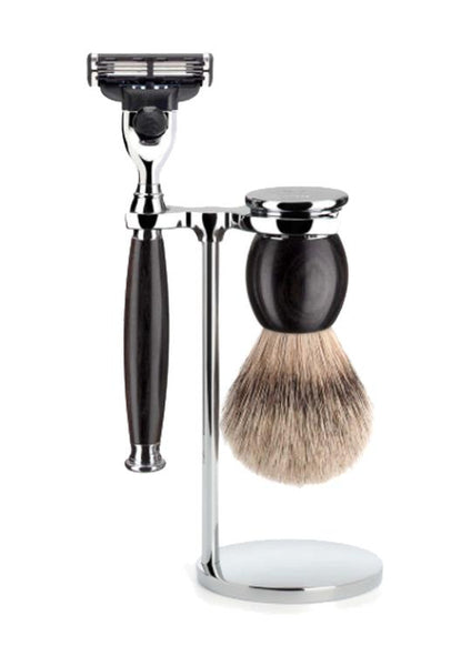 Muhle Sophist Mach3 shaving set including stand with silvertip badger shaving brush and Mach3 razor with grenadilla wood handles