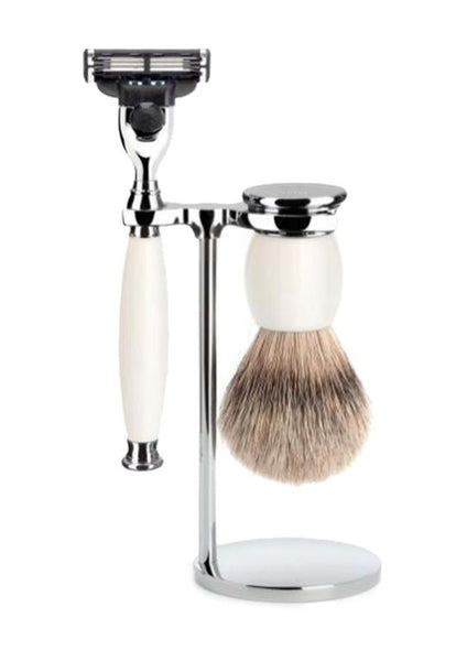 Muhle Sophist Mach3 shaving set including stand with silvertip badger shaving brush and Mach3 razor with porcelain handles