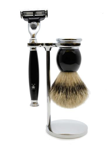 Muhle Sophist Mach3 shaving set including stand with silvertip badger shaving brush and Mach3 razor with black resin handles