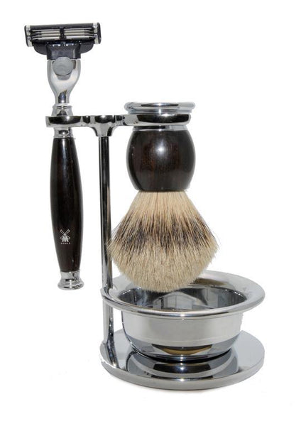 Muhle Sophist Mach3 shaving set including stand and bowl with silvertip badger shaving brush and Mach3 razor with grenadilla wood handles