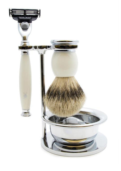 Muhle Sophist Mach3 shaving set including stand and bowl with silvertip badger shaving brush and Mach3 razor with porcelain handles