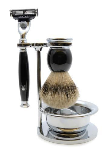 Muhle Sophist Mach3 shaving set including stand and bowl with silvertip badger shaving brush and Mach3 razor with black resin handles