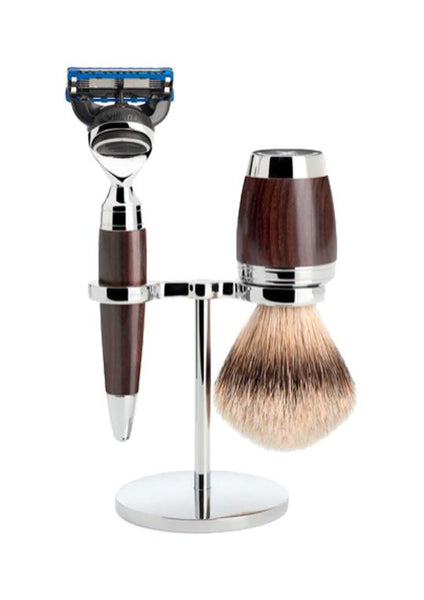 Muhle Stylo Fusion 5 shaving set including stand with silvertip badger shaving brush and Fusion 5 razor with grenadilla wood handles