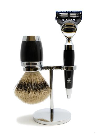 Muhle Stylo Fusion 5 shaving set including stand with silvertip badger shaving brush and Fusion 5 razor with black resin handles