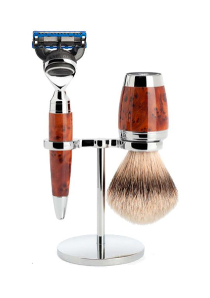 Muhle Stylo Fusion 5 shaving set including stand with silvertip badger shaving brush and Fusion 5 razor with thuja wood handles
