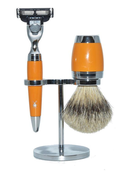 Muhle Stylo Mach3 shaving set including stand with silver tip badger shaving brush and Mach3 razor with butterscotch handles
