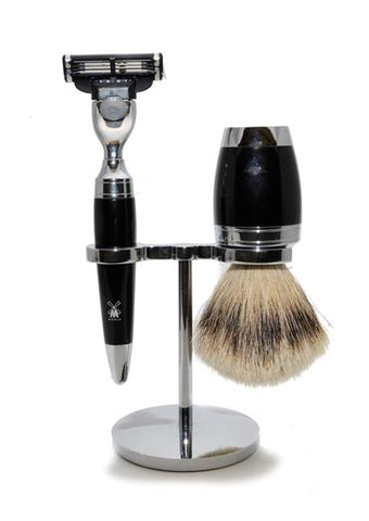 Muhle Stylo Mach3 shaving set including stand with silver tip badger shaving brush and Mach3 razor with black resin handles