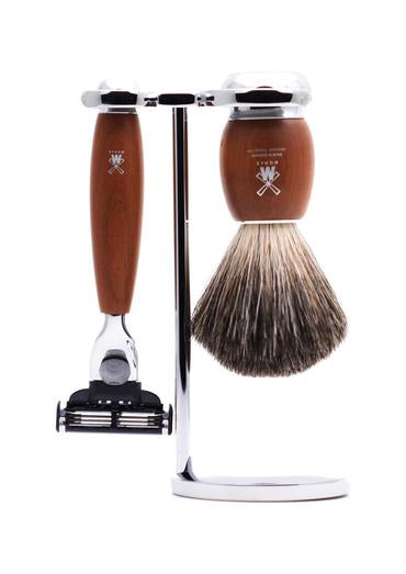 Muhle Vivo Mach3 shaving set including stand with pure badger shaving brush and Mach3 razor with plumwood handles