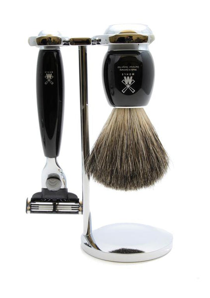 Muhle Vivo Mach3 shaving set including stand with pure badger shaving brush and Mach3 razor with black resin handles