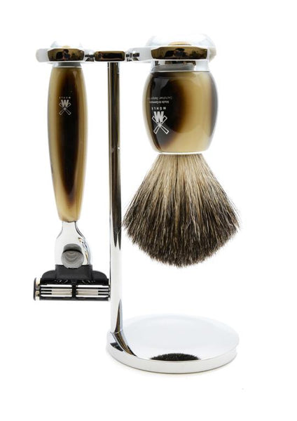 Muhle Vivo Mach3 shaving set including stand with pure badger shaving brush and Mach3 razor with horn resin handles
