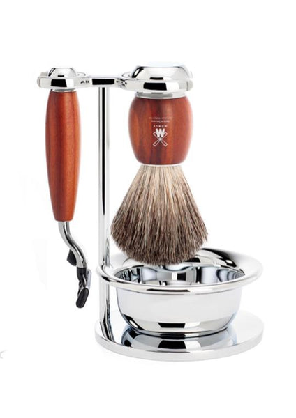 Muhle Vivo Mach3 shaving set including stand and bowl with pure badger shaving brush and Mach3 razor with plum wood handles