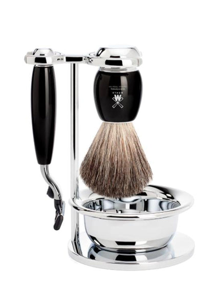 Muhle Vivo Mach3 shaving set including stand and bowl with pure badger shaving brush and Mach3 razor with black resin handles