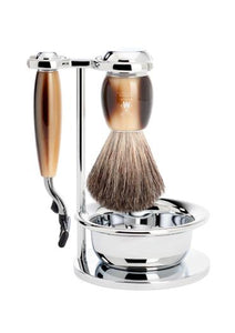 Muhle Vivo Mach3 shaving set including stand and bowl with pure badger shaving brush and Mach3 razor with horn resin handles