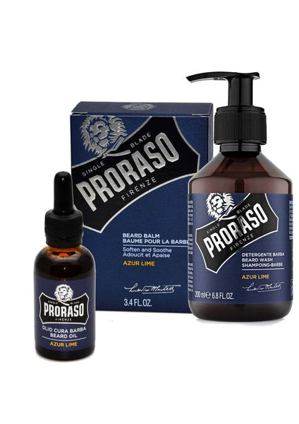 Proraso azur lime scented beard balm with beard oil and beard wash