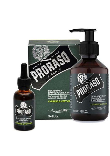 Proraso cypress and vetiver scented beard balm with beard oil and beard wash