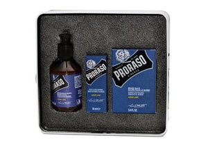 Proraso azur lime scented beard kit including beard wash, beard oil and beard balm in a tin