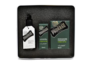 Proraso cypress & vetyver scented beard kit including beard was, beard oil and beard balm in a tin