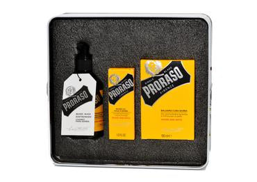 Proraso wood and spice scented beard kit including beard wash, beard oil and beard balm in a tin