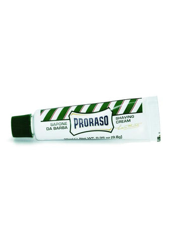 Proraso Green 10ml travel shaving cream with eucalyptus oil and menthol