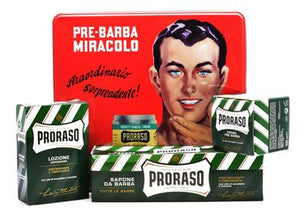 Proraso Green vintage selection tin including pre shave, shaving cream in a tube and after shave lotion with tin