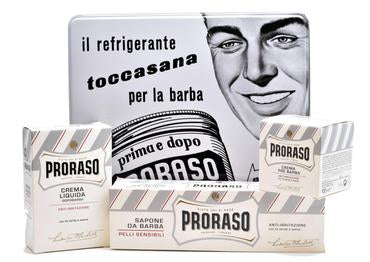 Proraso White vintage selection tin including pre-shave, shaving cream in a tube and after shave balm