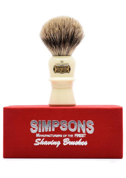 Simpson B4 shaving brush with Beaufort pure badger bristles on box
