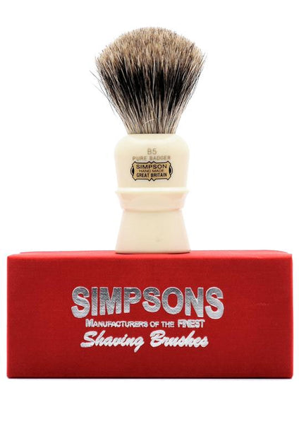 Simpson B5 shaving brush with Beaufort pure badger bristles on box