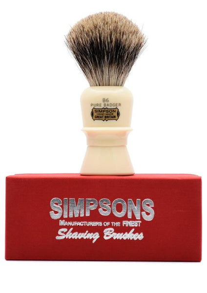 Simpson B6 shaving brush with Beaufort pure badger bristles on box