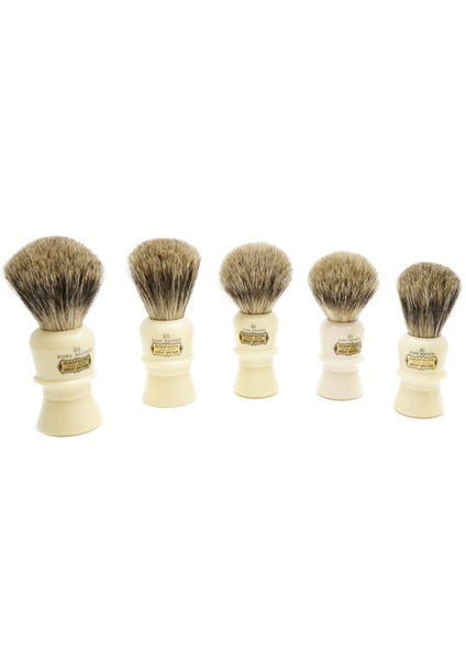 A range of Simpson B series shaving brushes with Beaufort pure badger bristles