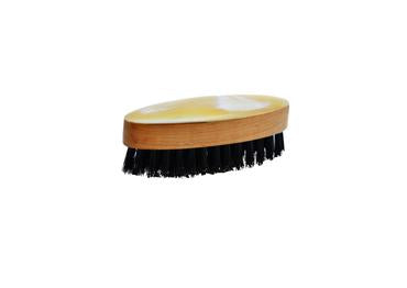 St James Shaving Emporium light horn backed beard and moustache brush with natural bristles