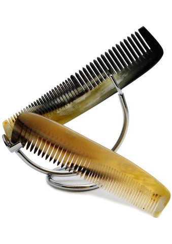 St James Shaving Emporium 140mm horn combs on a stand