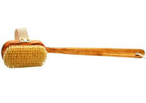 St James Shaving Emporium natural bristle bath brush with removable olivewood handle
