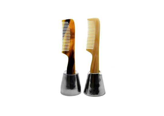 Two St James Shaving Emporium real horn beard and moustache combs in a stand