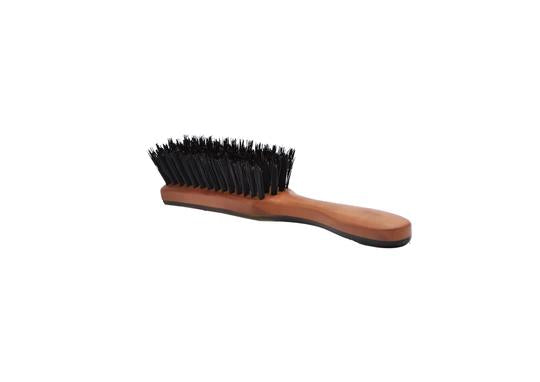 St James Shaving Emporium horn backed beard brush with natural bristles with horn bristles showing