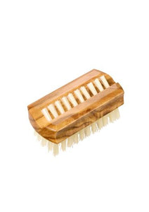 St James Shaving Emporium natural bristle nail brush with waxed olive wood travel size